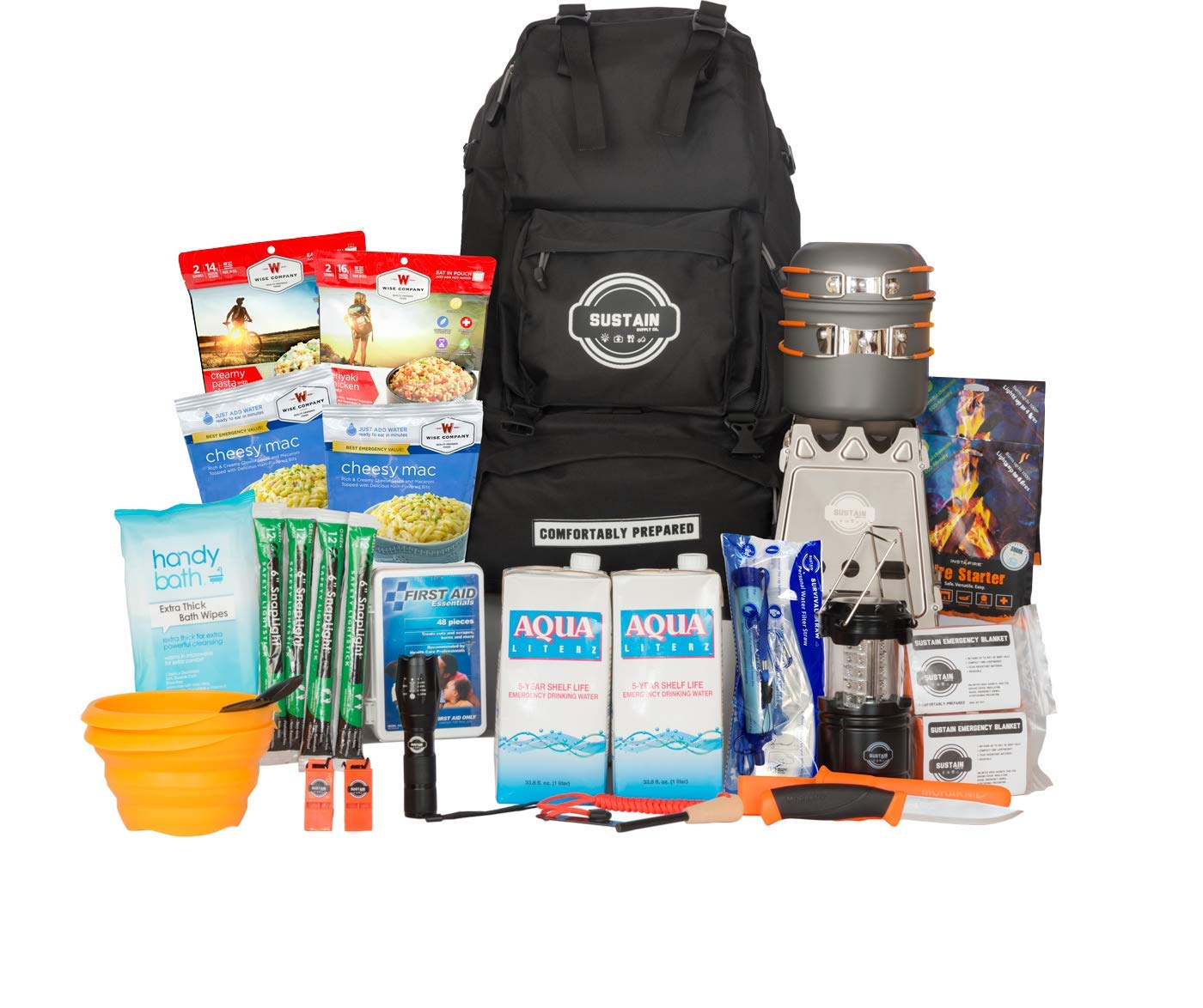 Sustain Supply Co. 9-08400Premium Emergency Survival Bag/Kit - Be Equipped with 72 Hours of Disaster Preparedness Supplies for 2 People by Sustain Supply Co.