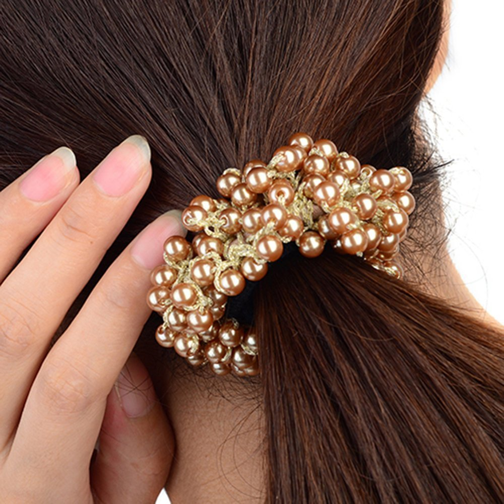 ZCSMg Fashion Pearls Beads Hair Band Rope Scrunchie Ponytail Holder for Women (Khaki)