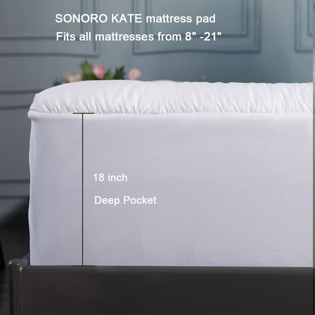 SONORO KATE Mattress Pad Cover Twin XL Size Down Alternative Mattress Topper Fitted Quilted (8-21-Inch Deep Pocket)- Hypoallergenic -(Twin XL, White) by SONORO KATE (Image #6)