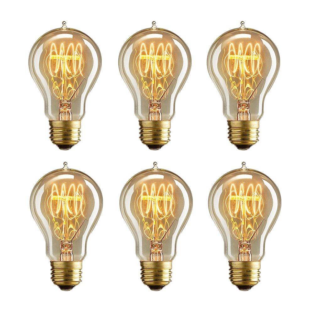 MADKING Edison Bulb, 25W A19 Filament Bulb with Medium Base (E26) Nostalgia Edison Style, Antique Light Bulbs (6 Pack)