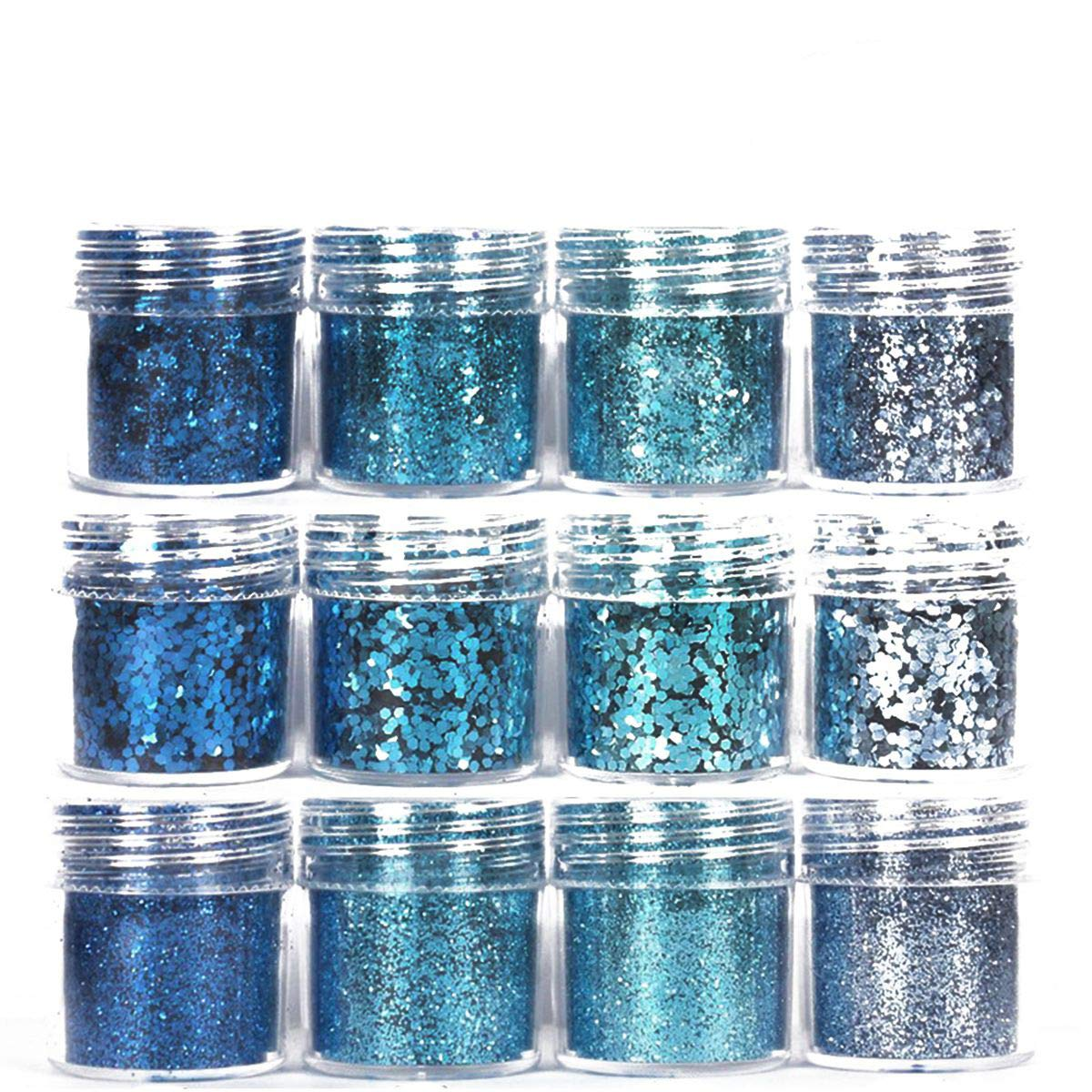 Canvalite 12 bottles Nail Iridescent Glitter Gradient Chunky Sequins Dust Nail Decoration Acrylic Powder for Nail Art Face Body Makeup