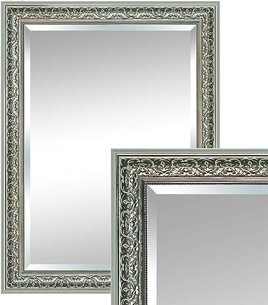 Spiegel Wandspiegel silber 115 x 55 cm Antik Barock Rahmen Facettenschliff
