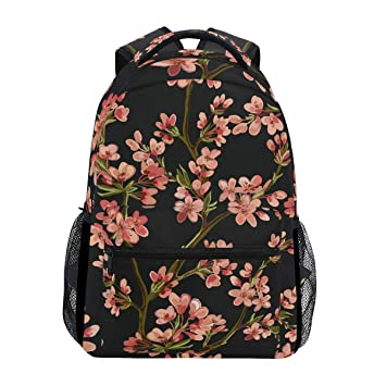 db29858db Amazon.com: CUTEXL Canvas Backpack Japanese Floral Flower Sakura ...