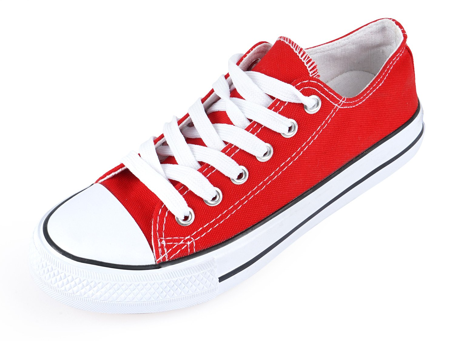 SUNJIN ARCO Women's Fashion Lace up Sneaker Low Top Canvas Shoes (Red,7.5 B(M) US)