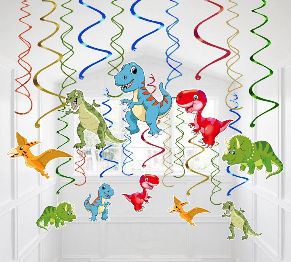 Moon Boat 30 Ct Dinosaur Hanging Swirl Decorations - Dino Fossil Jurassic T-REX Birthday Party Supplies Ornaments by Moon Boat