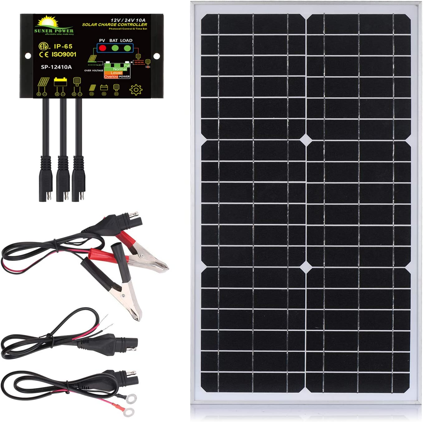 30 Watts Mono Crystalline 12V Off Grid Solar Panel Kit - Waterproof 30W Solar Panel + Photocell 10A Solar Charge Controller with Work Time Setting + SAE Connection Cable Kits