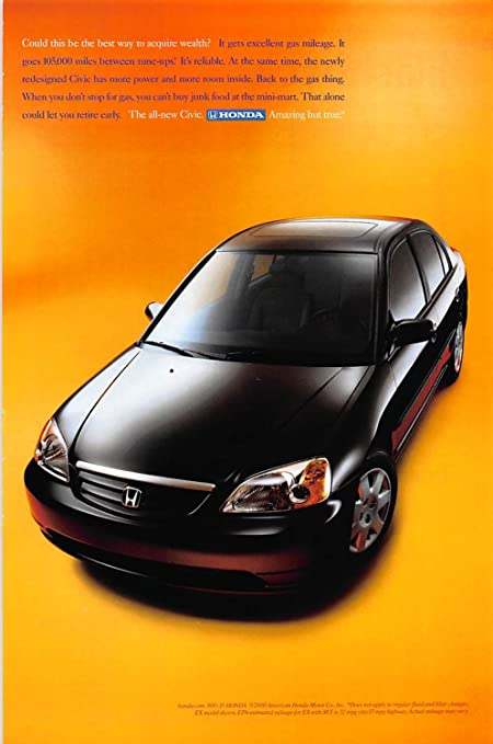 Print Ad 2001 Honda Car It Gets Excellent Gas Mileage