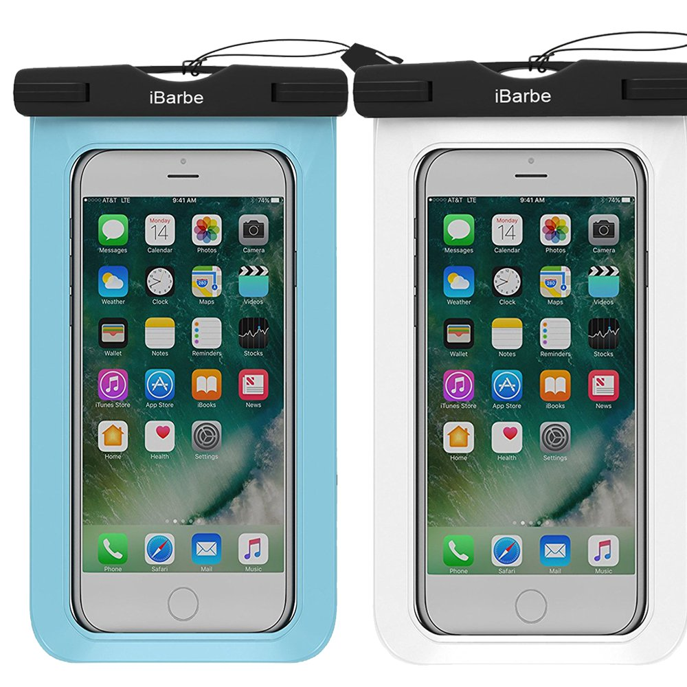 iBarbe 2 Pack Waterproof Case, Universal Cell Phone Plasic TPU Dry Bag iPhone 7 7 Plus 6S 6/6S Plus 5/S/SE 5C Samsung Galaxy Note 5 s8 s8 Plus S 8 S7 S6 Edge s5 etc.to 5.7 inch,White+Blue
