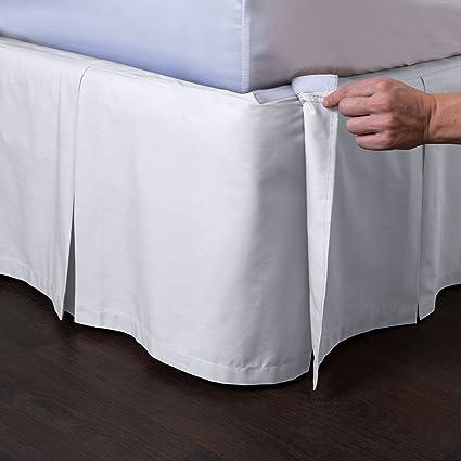 Amazon Com Ashton Detachable Bedskirt Queen Size White 21 Drop