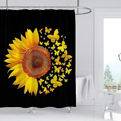Creative Sunflower Bathtub Yellow Butterflies Shower Curtain Set Bathroom Decor