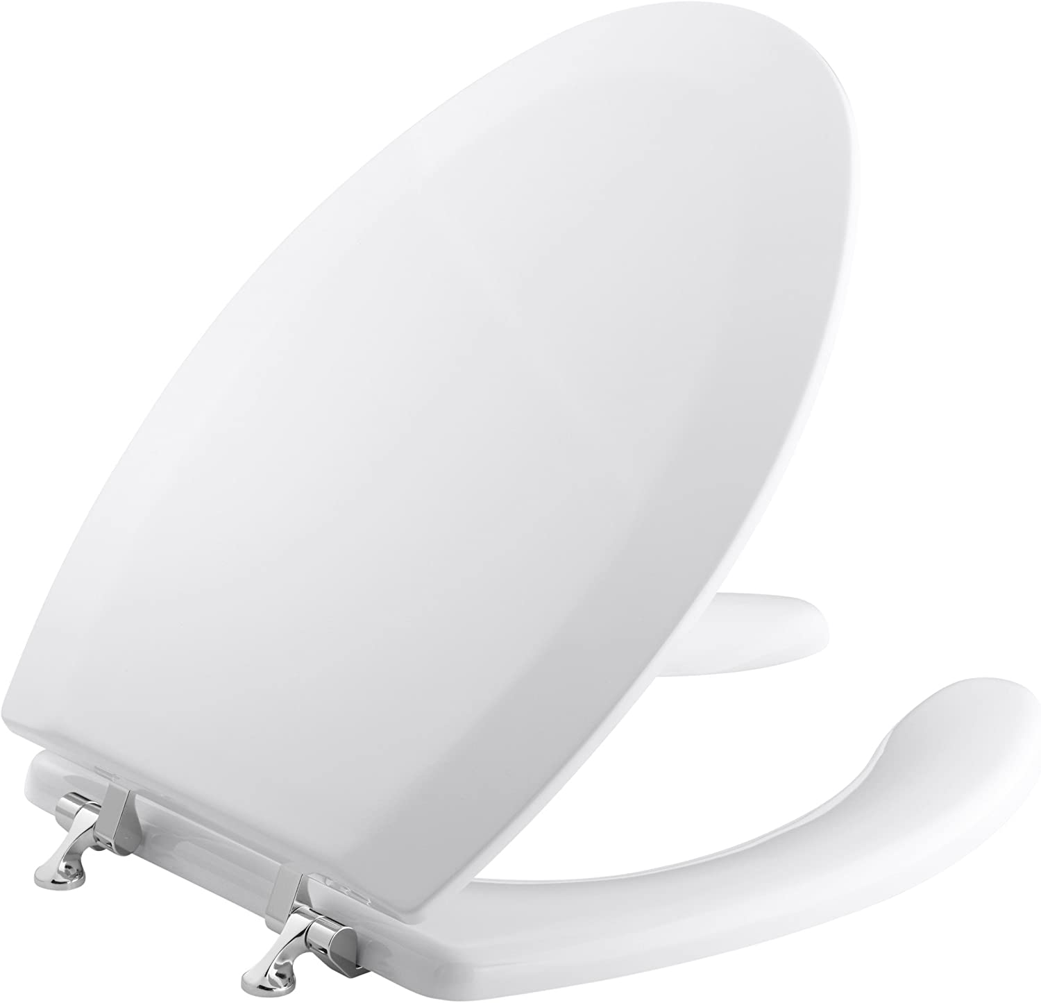 KOHLER K-4710-GS-0 Triko Elongated Molded Toilet Seat with Open Front, Cover and Polished Chrome Hinges, White