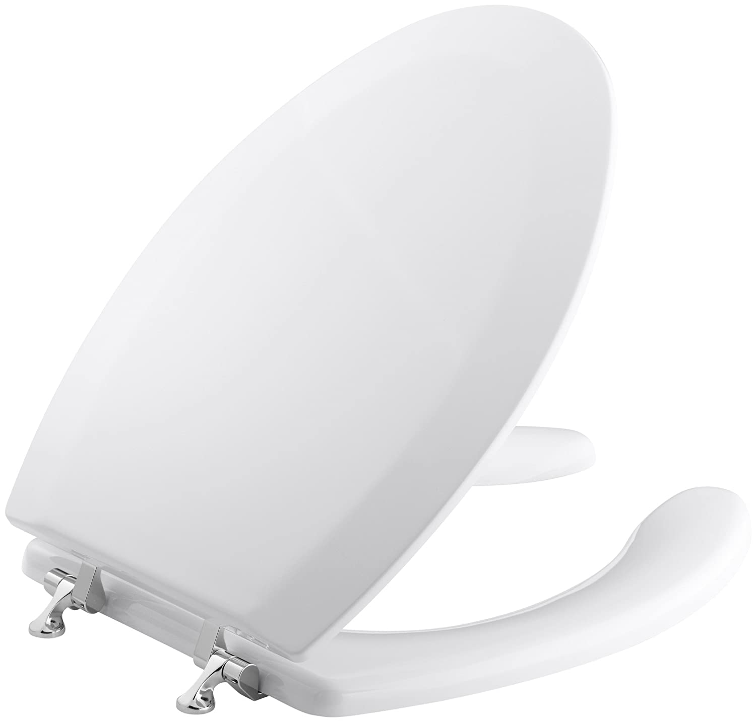 Marvelous Kohler K 4710 Gs 0 Triko Elongated Molded Toilet Seat With Open Front Cover And Polished Chrome Hinges White Inzonedesignstudio Interior Chair Design Inzonedesignstudiocom