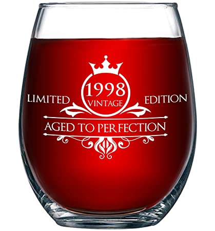 1998 21st Birthday Gifts For Women And Men Wine Glass