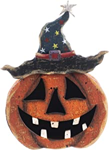 OSW Wood Pumpkin Halloween Decor Jack o Lantern Sitter, Rustic Wooden Free Standing 3D Tabletop Centerpiece Kitchen Decoration 8.25 Inches Tall x 5.5 Inches Wide