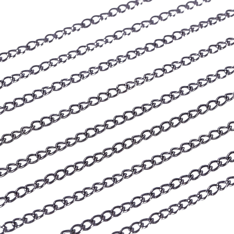 Cikuso 5 m Chaine Maille maillon chainette pour Creation de Bijoux-Pistolet Noir