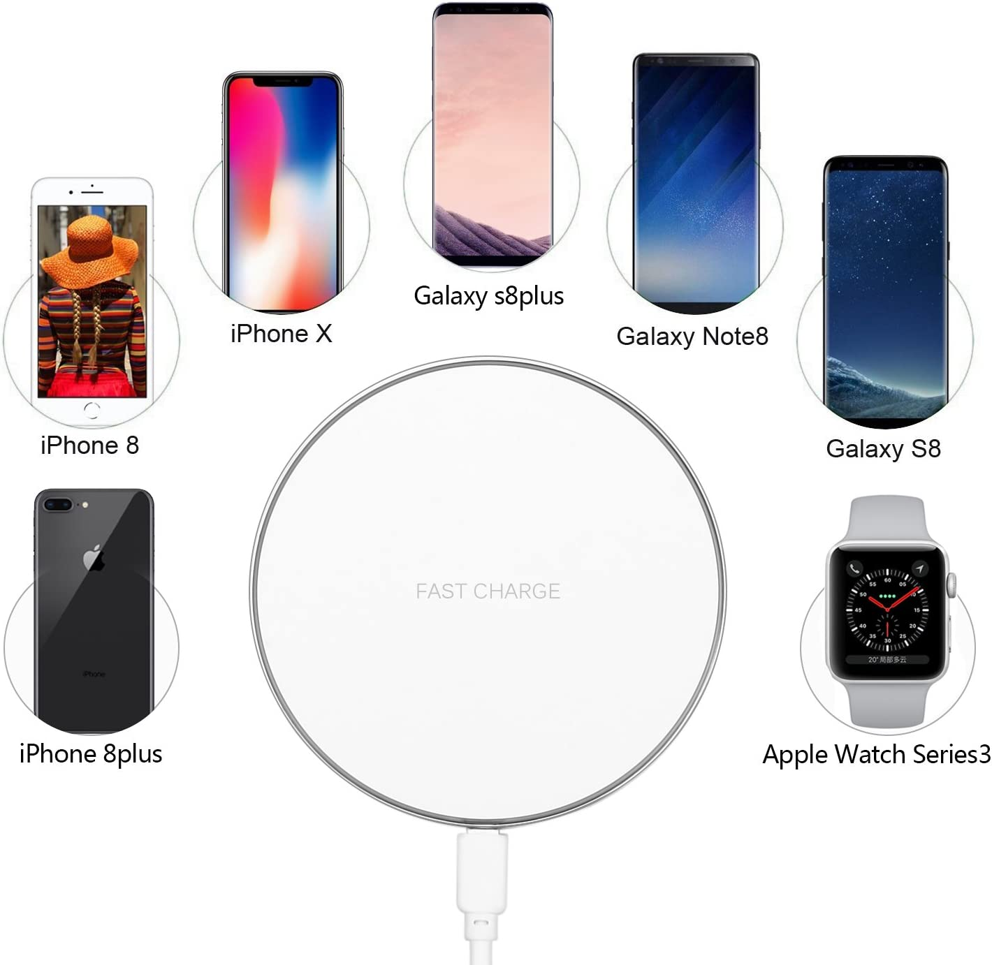 Fast Wireless Charging Pad for Samsung Galaxy S9//S9 Plus//Note 8//S8//S8 PLUS//S7//S7 Edge forLG Nexus//Xperia Qi Wireless Charger for iPhone X iPhone 8//8 Plus Silver