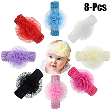 8fb47cc565f6 Coxeer 8PCS Baby Hairband Lace Flower Toddler Headband Infant Headwrap for Baby  Girl  Amazon.in  Clothing   Accessories