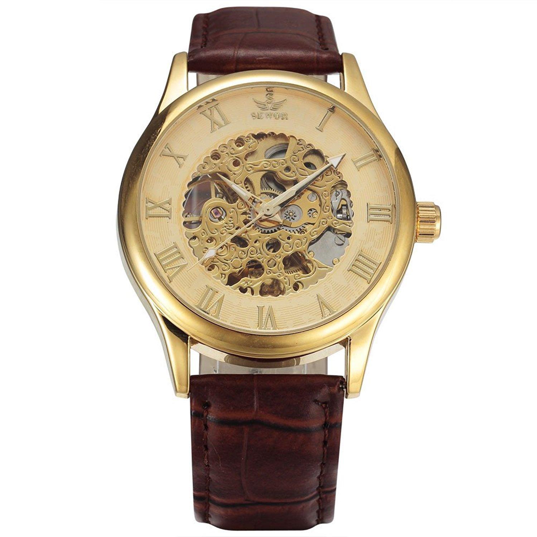 SeworメンズDaily防水スケルトン自動機械腕時計レザーバンドゴールドケース 1# B071L1J1N1 1# 1#
