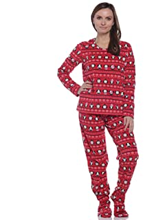 8bb91267b0ed Big Feet Pjs Adult Footed One Piece Pajamas Gray   White Flannel