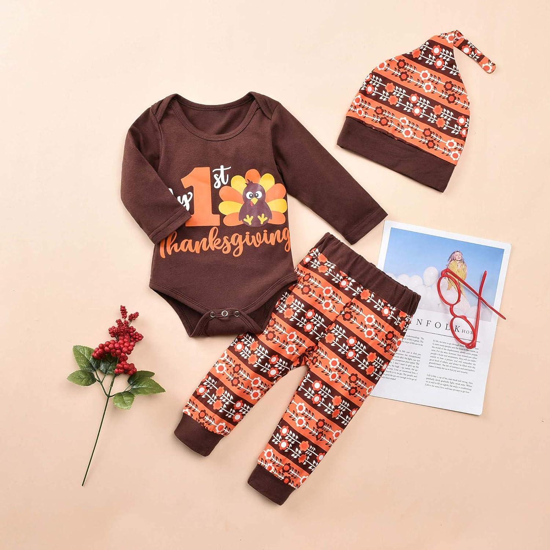 JKstore My 1st Thanksgiving neonato neonato neonato pagliaccetto tutina tacchino modello cartoon pantaloni cappello 3 pezzi abiti set