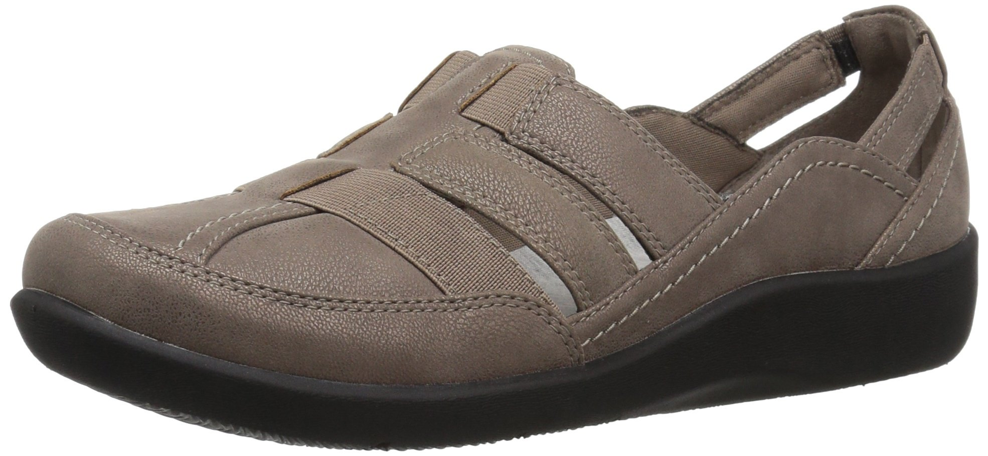 CLARKS Women's Sillian Stork Fisherman Sandal Pewter Synthetic Nubuck 9 Narrow US