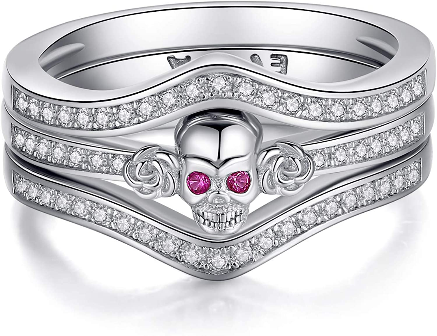 Thumb Rings for Women Sterling Silver Promise Engagement Skull Wedding Bands with Amethyst Birthstone and White Cubic Zirconia