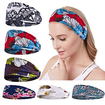 6 Pack Headbands for Women Turband Headwrap Yoga Gym Floral Glitter Multi-Style