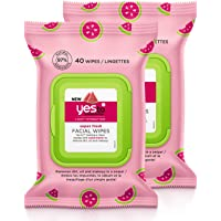 Yes To Light Hydration Super Fresh Facial Wipes, watermelon, 80 Count (Pack of 2)