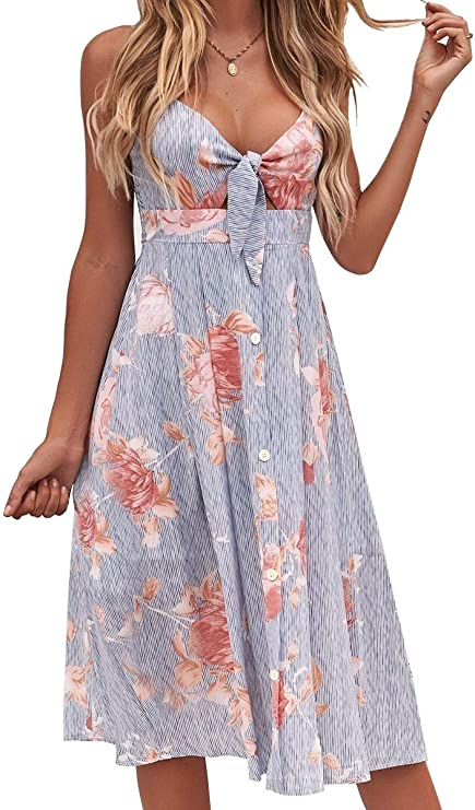 FANCYINN Women's Tie Front Summer Midi Dress V Neck Floral Print Button Down Spaghetti Strap Dress Striped Red Flower L best women's sundresses
