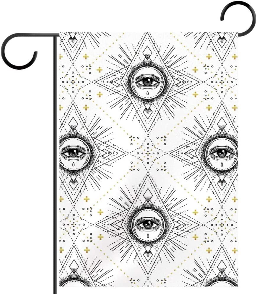 Sacred Geometry Eye Pattern Mystic Alchemy Occult Astrology Garden Yard Flag Polyester Fabric Home Decorative Flags, 12x18 in (Without Flagpole)