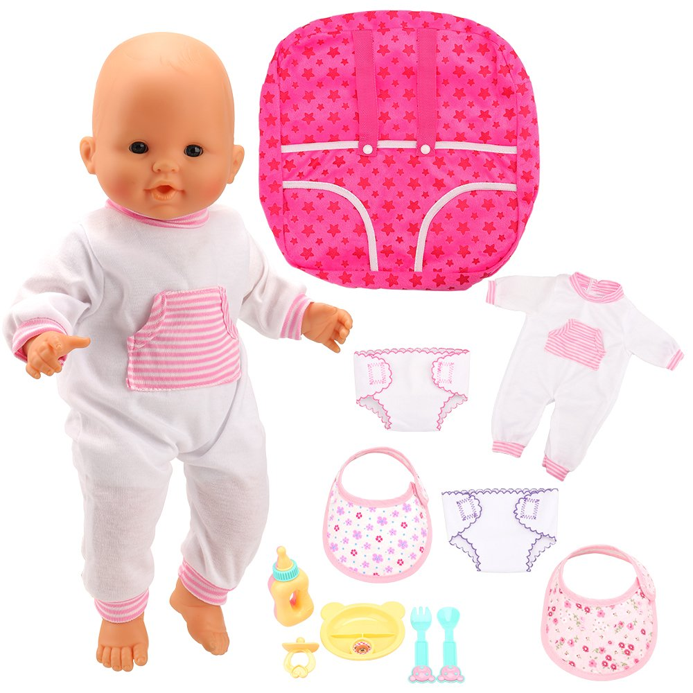 Amazon.com: Barwa Doll Clothes Accessories Doll Backpack Carrier 4pc Feeding Set and 2pc Diapers 2pc Bibs for 14-16 Inch Dolls and 18 inch Dolls: Toys & ...