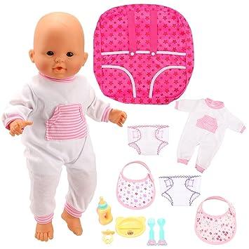 4b441b173405 Miunana 10PCS Articles pour La Poupée Bébé Jouet 1 Tenue de Vêtement + 2  Couches de