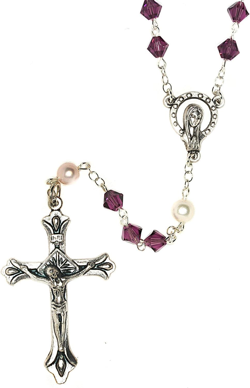 Catholic Prayer Rosary Made with Swarovski Crystals, Glass - Communion, Confirmation, RCIA, Birthday, Christmas, Easter