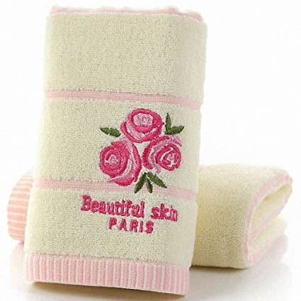 Lictory 1pcs 33x74cm Flower Embroidery Soft Face Towel Cotton Hair Hand Bathroom Towels badlaken toalla Toallas