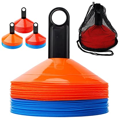 5c2ebe5b6 Amazon.com : Ranphykx Disc Cones (Set of 50) Agility Soccer Cones with Carry  Bag and Holder for Training, Football, Kids, Sports, Field Cone Markers ...
