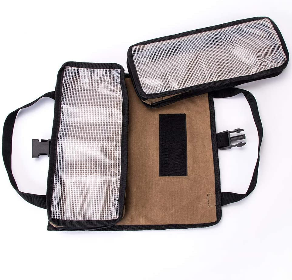 Multi-purpose Spanner Roll Also Can be Taken as Car Seat Bag Army green Foldable Tool Case QEES Tool Roll Bag Khaki