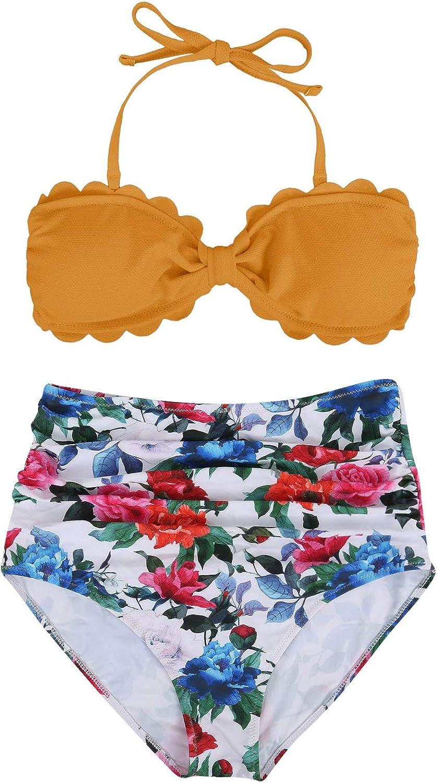 Tempt Me Women Two Pieces High Waisted Ruffle Bikini One Shoulder Print Flounce Swimwear