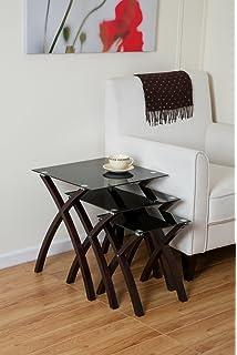 Premium black acrylic nest of tables set of 3 amazon aspect miami set3 nesting table black tempered glasssolid wood legs in watchthetrailerfo