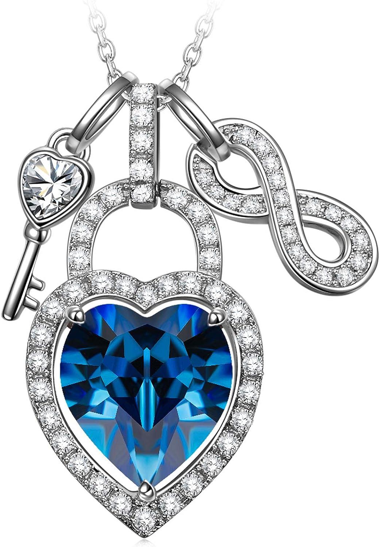 Alex Perry Regalo para Madre, Abre tu Corazon 925 Plata Collar Mujeres Colgantes Cristales Swarovski Bloquear Azul, Caja de Regalo Elegante, Joyería para Ella