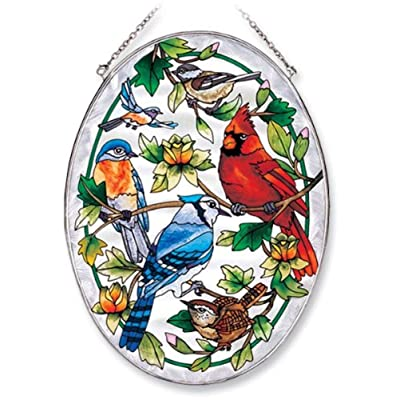 Amia Oval Suncatcher with Songbird and Cardinal Design, Hand Painted Glass, 6-1/2-Inch by 9-Inch: Home & Kitchen