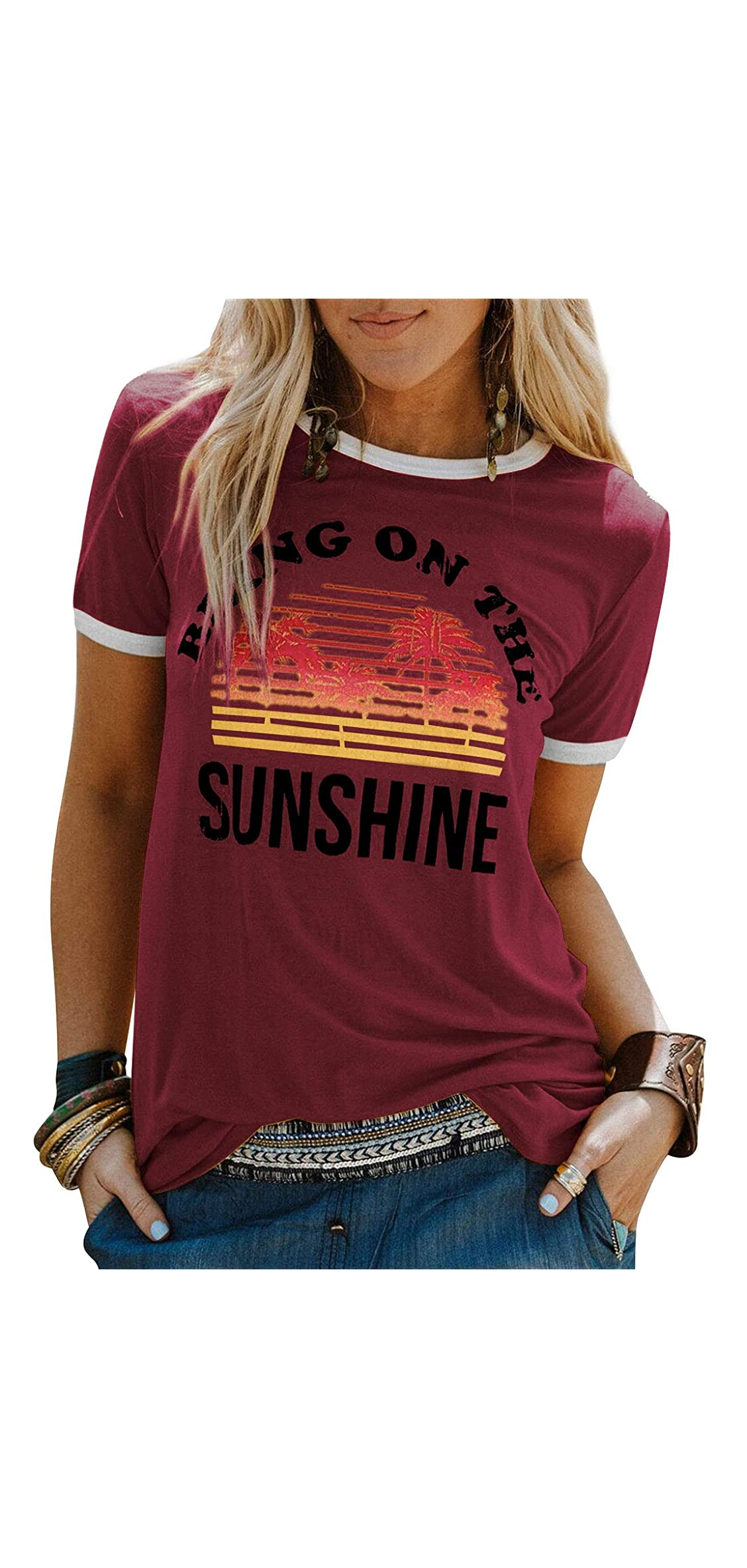 Bring On The Sunshine Graphic Long Sleeves Tees Blouses