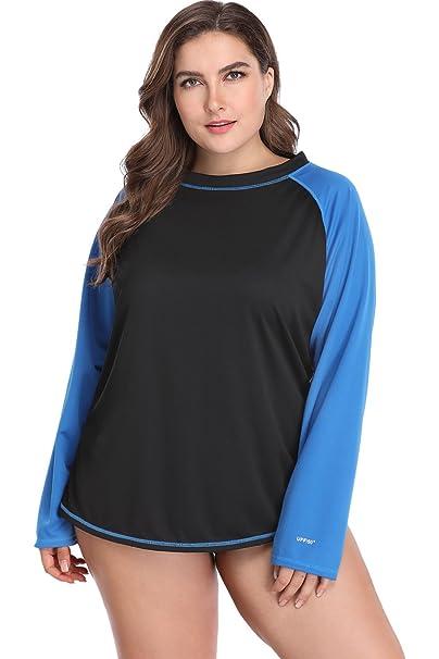5152e0703b3 Sociala Plus Size Rashguard for Women UV Protection Rash Guard Shirt ...