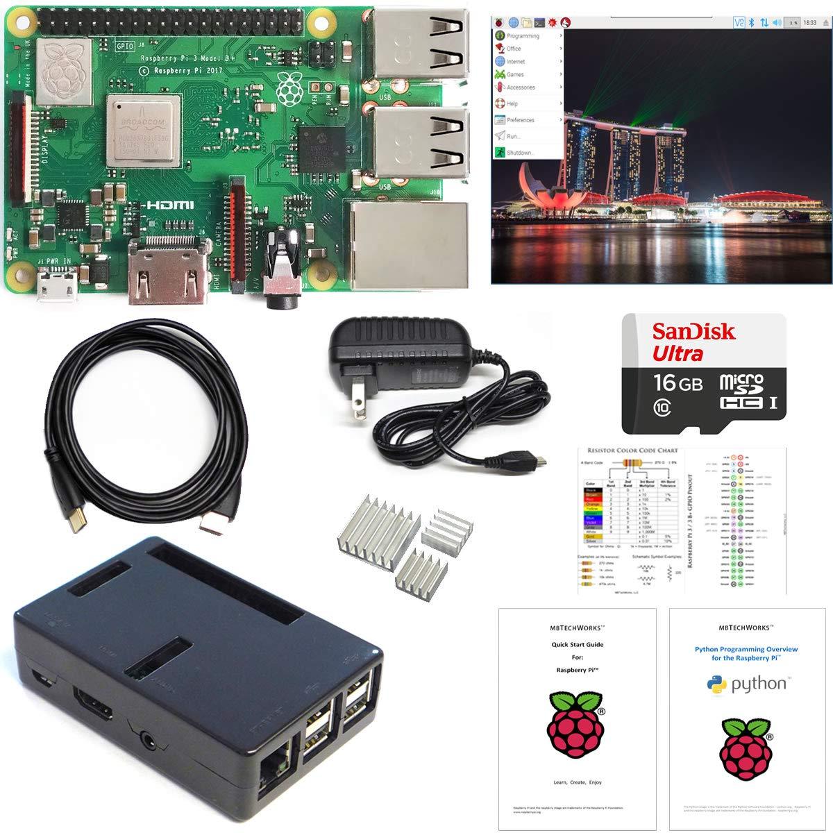 MBTechWorks Raspberry Pi 3 B+ Computer Kit, 16GB High-speed micro SD, Raspbian, WiFi, Bluetooth, 3A Power Supply, Black Case