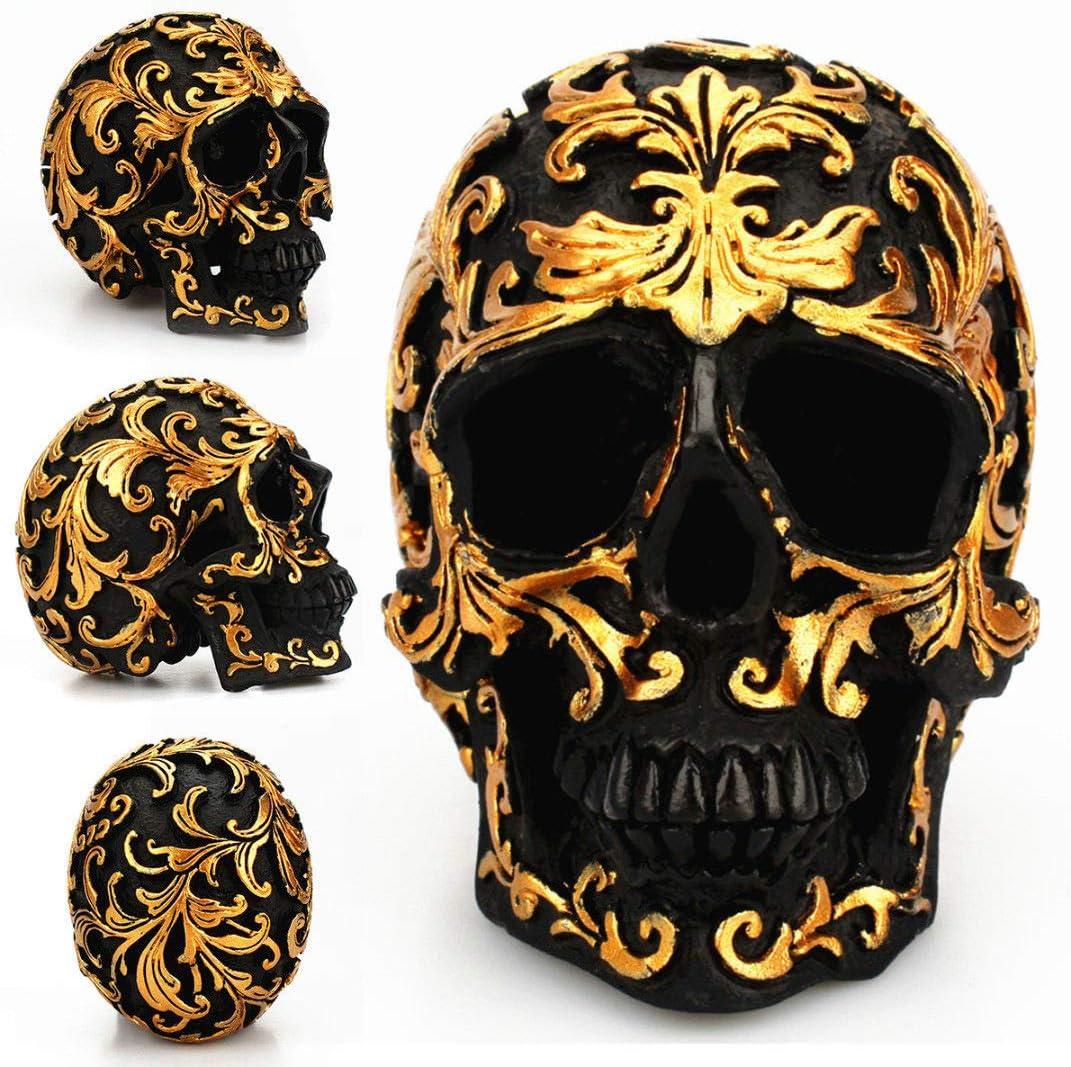 Tvoip 1Pcs Black Skull Head Golden Carving Horror Home Table Decorative Craft Human Horror Resin Skull Bone Skeletons Halloween Decoration Flower Ornaments Skeleton