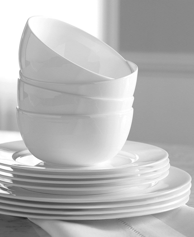 Hotel Collection Dinnerware Bone China 12 Piece Set - White