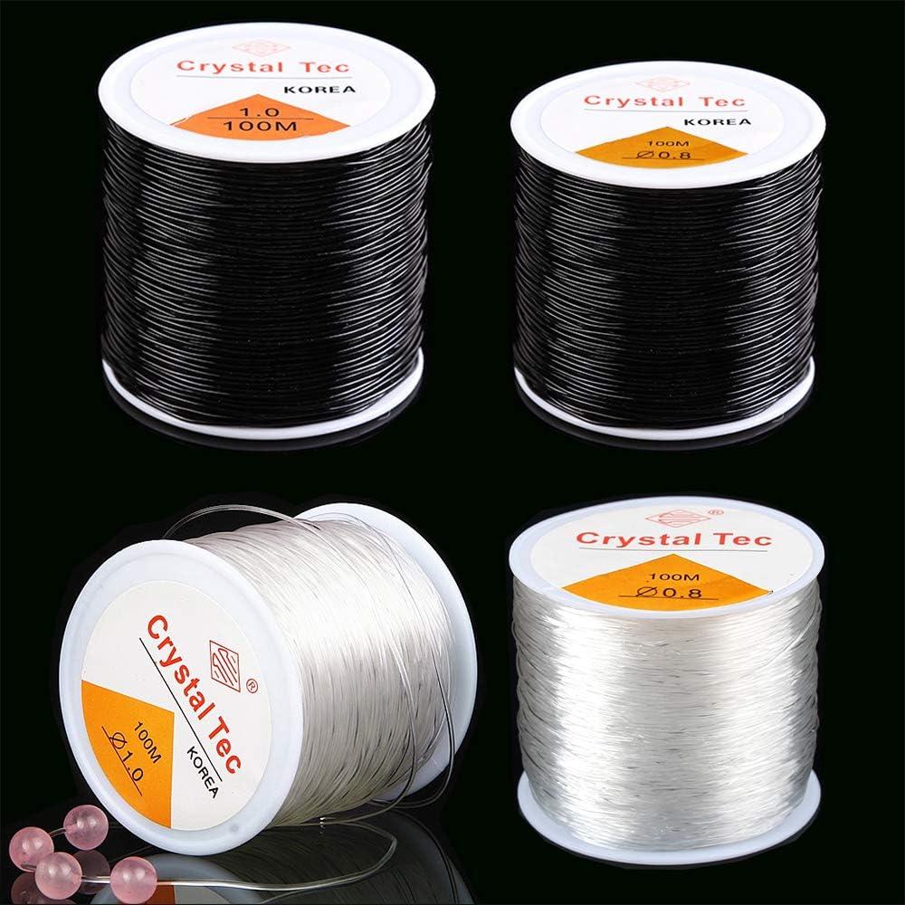 New 100M 0.8mm Clear Stretch Elastic Beading Cord String Thread Spool Roll~~~