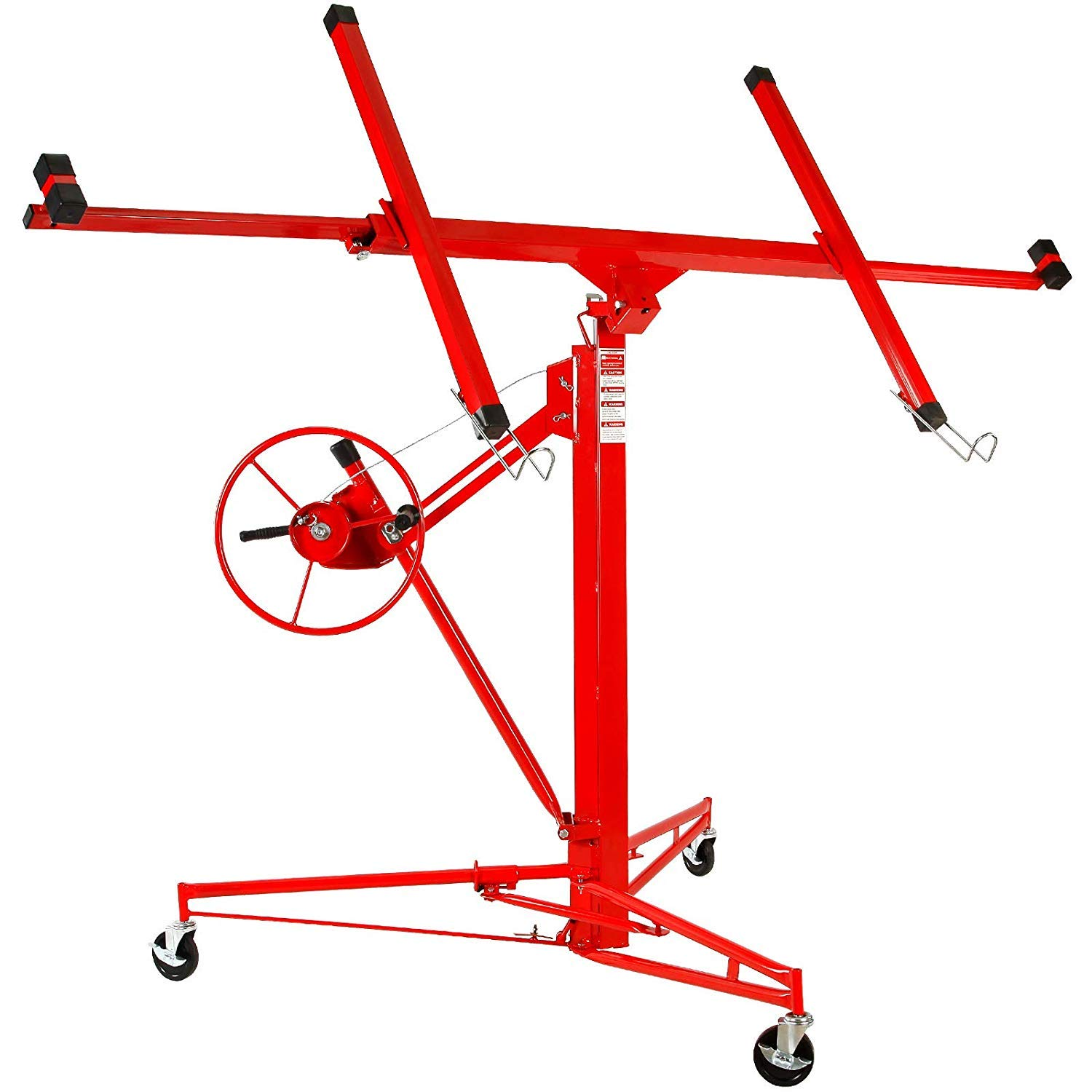 Vosson Drywall Lift 11' Panel Hoist Jack Lifter Drywall Ceiling Lift Construction Tools Lockable w/Caster Wheel Red