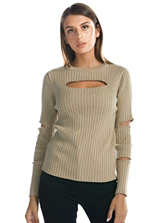 823dd6ad8d459c BARGOOS Women Keyhole Bodycon Sweater Crewneck Cut Out Long Sleeves Ribbed  Knit Jumper Beige Small