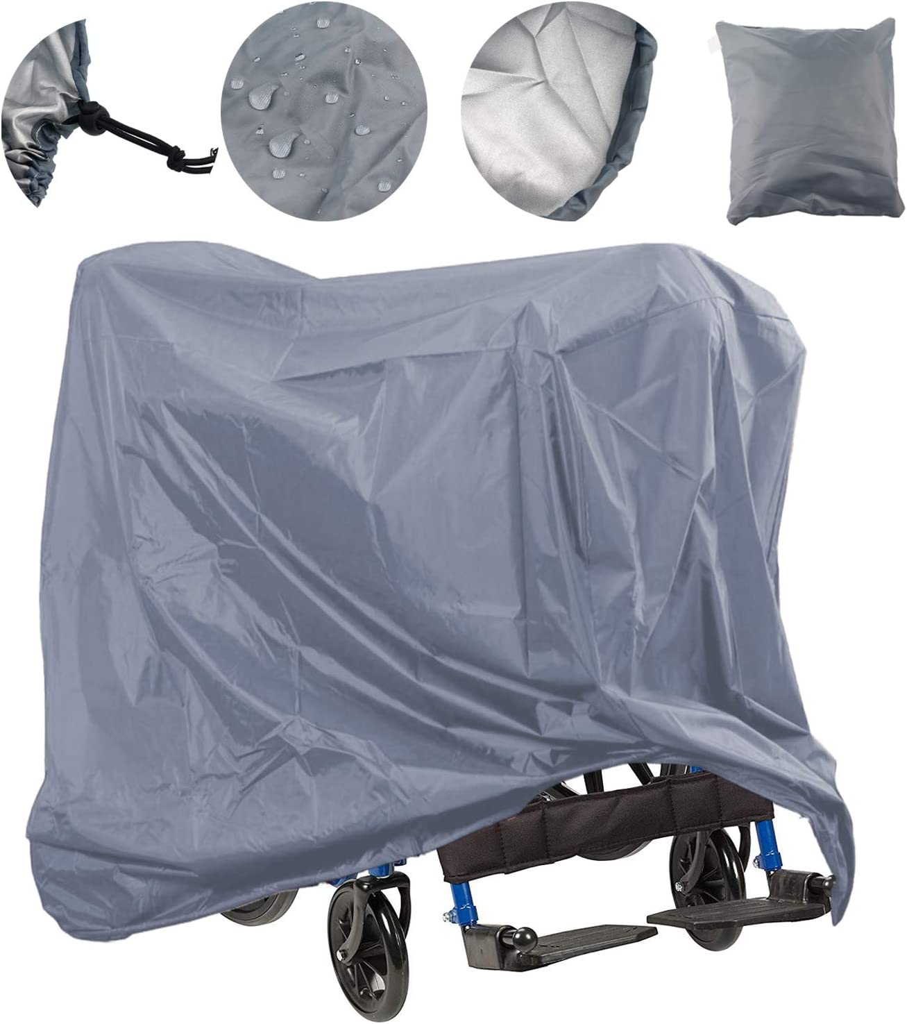 L x W x H 67 x 24 x 46 inch Wheelchair Storage Cover Oxford Fabric Lightweight Rain Protector from Dust Dirt Snow Rain Sun Rays Lmeison Mobility Scooter Cover Waterproof