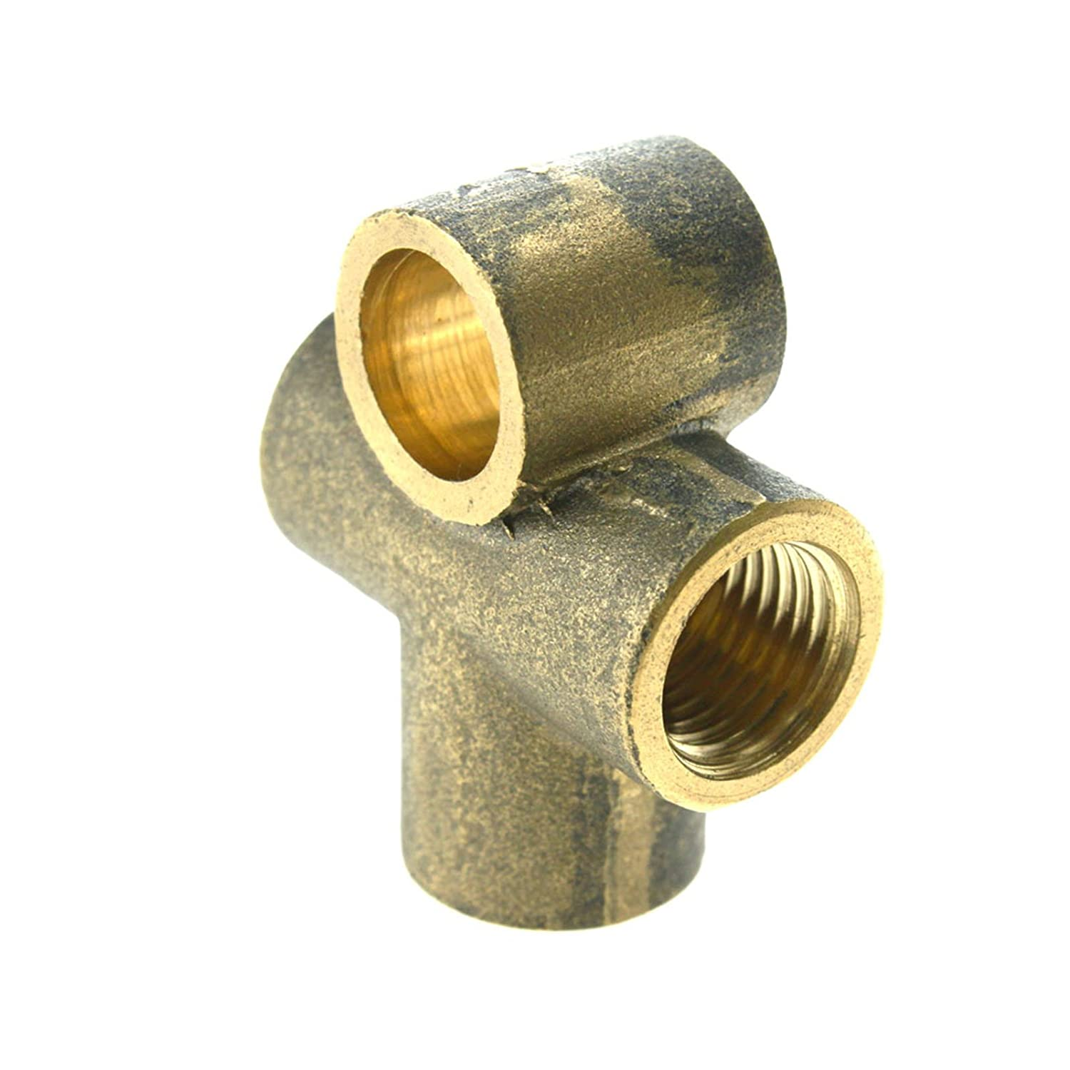 D2D 2xBrass 10MM 3-Way Tee Piece Pipe Brake Clutch M10 T Pipe Connector Female